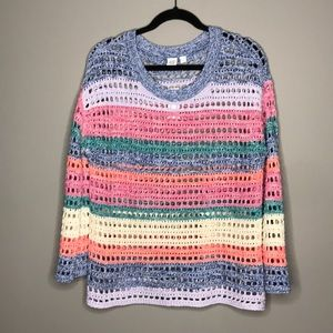 NWT GAP open knit multi color sweater sz Med